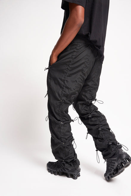 Black Nylon Ruched Toggle Detail Jogger