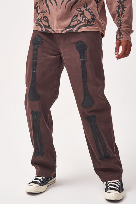 Brown Skate Jeans With PU Bone Detail