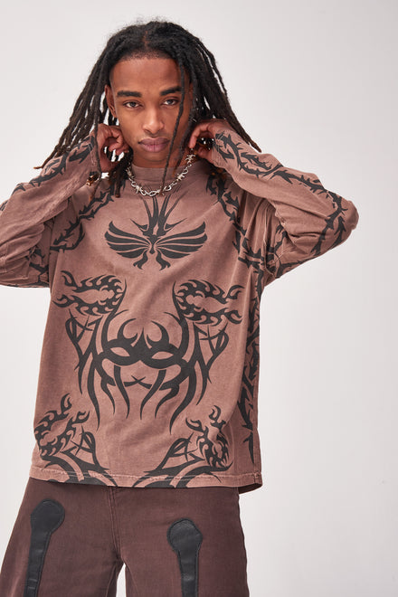 Tattoo Print Long Sleeve T-shirt