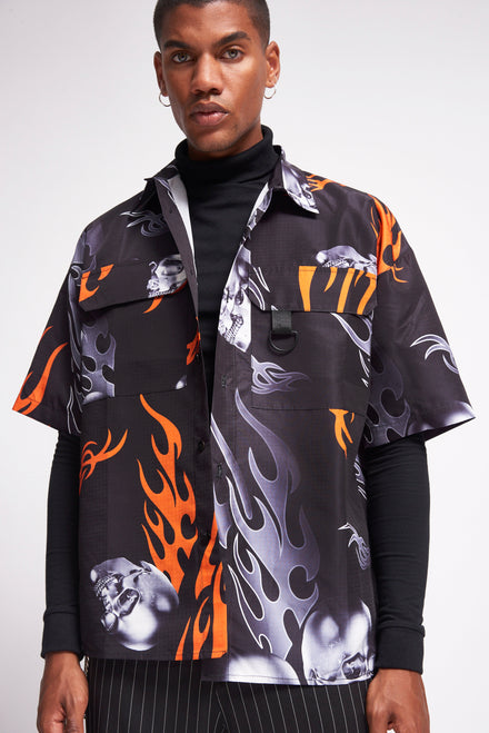 Black Flame Oversized Print Shirt