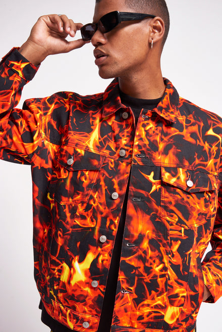 Flame Print Denim Jacket