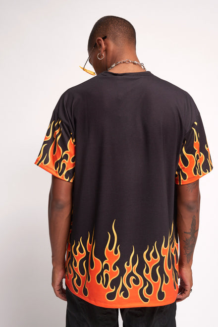 Flame Pentagram Print T-shirt