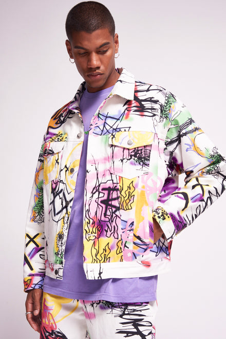 White Graffiti Print Denim Jacket