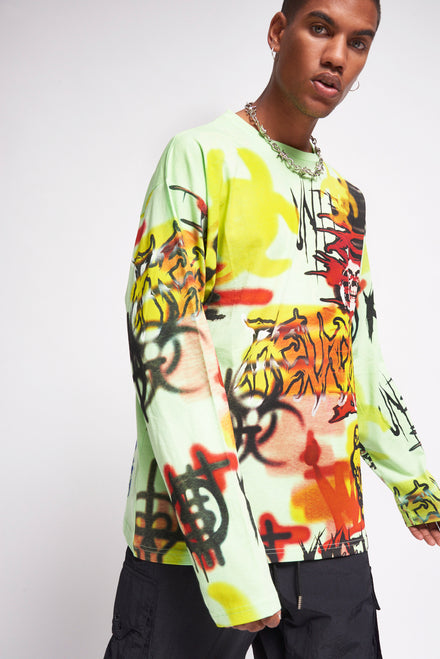 Neon Graffiti Lightning Bolt Print Long Sleeve T-shirt