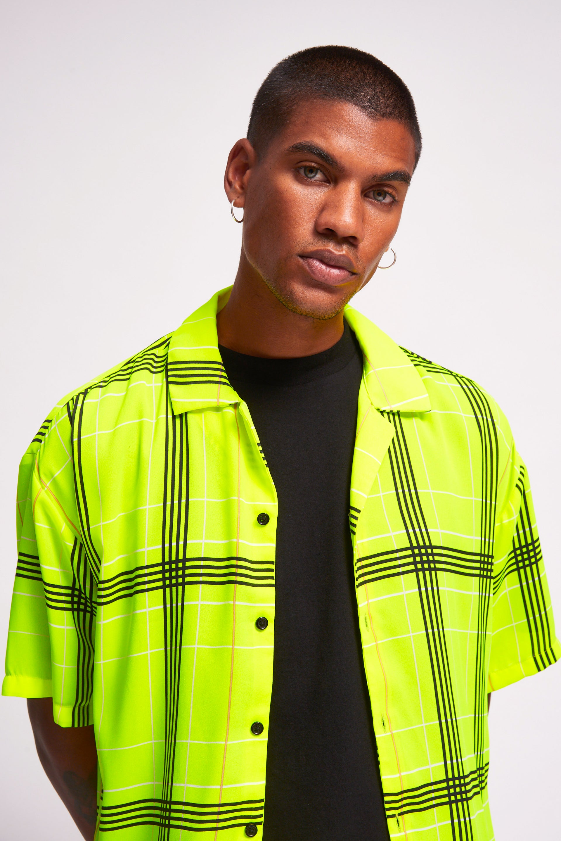 Neon Yellow & Black Check Short Sleeve Shirt