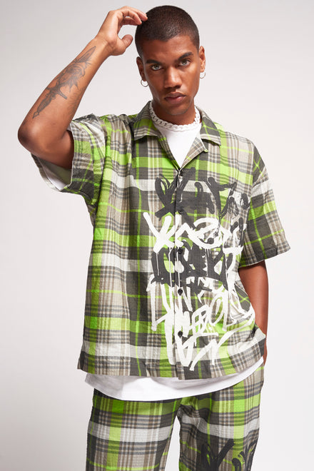 Neon Green Checkered Graffiti Revere Shirt