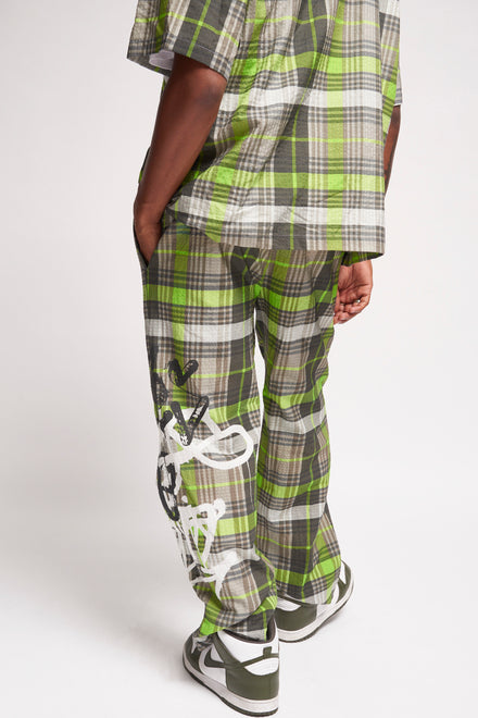 Neon Green Checkered Graffiti Trouser