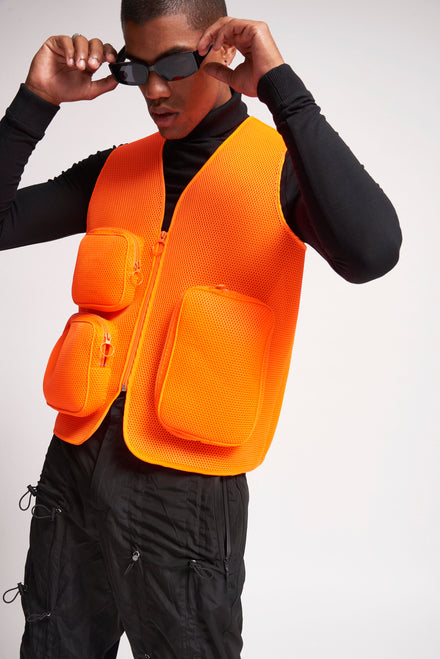 Orange Mesh Utility Vest With Cargo Pockets