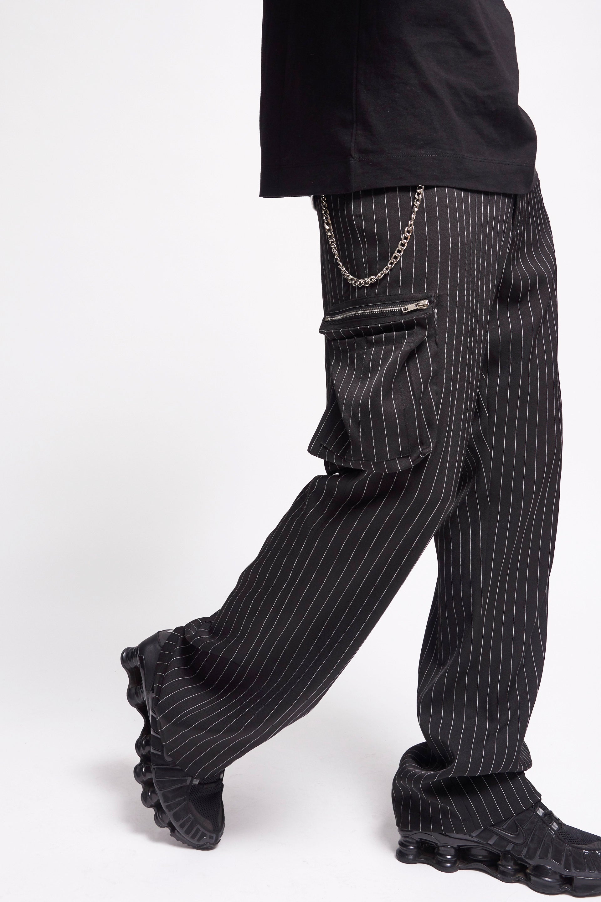 Black Pinstripe Cargo Trousers