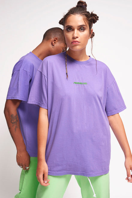 Parallel Purple Embroidered T-Shirt