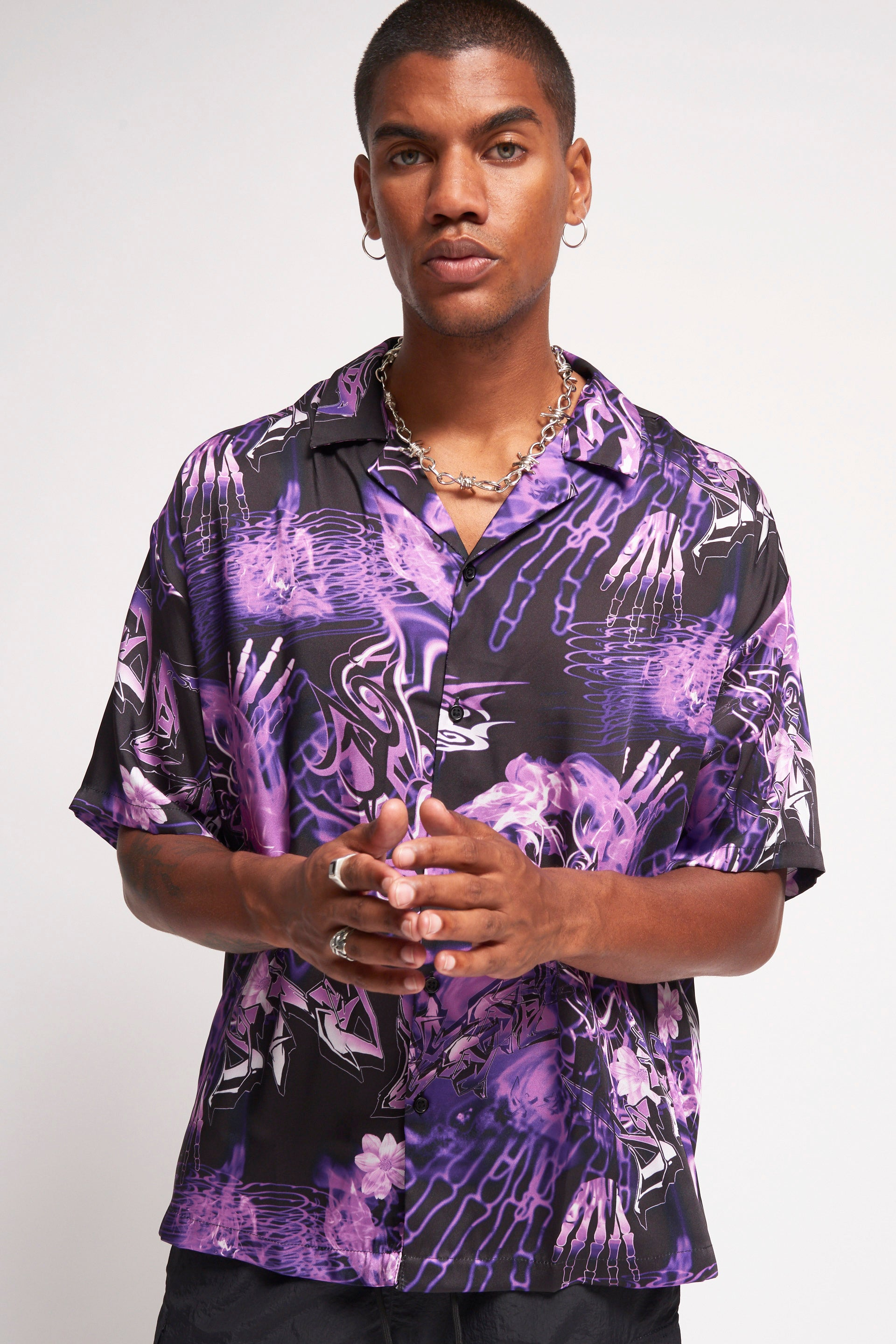 Purple Hawaiian Gothic Print Shirt
