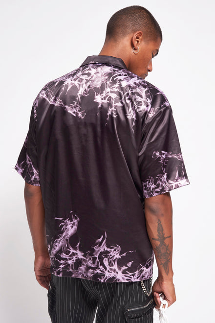 Purple Flame Skull Print Satin Shirt