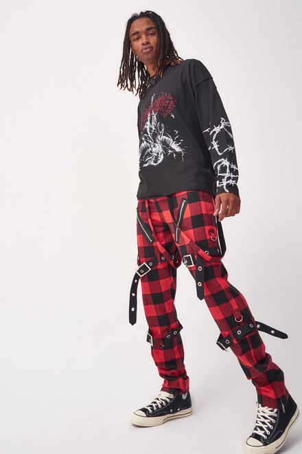 Red & Black Checkered Punk Trousers