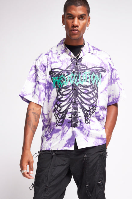 Skeleton Revolution Tie Dye Print Shirt