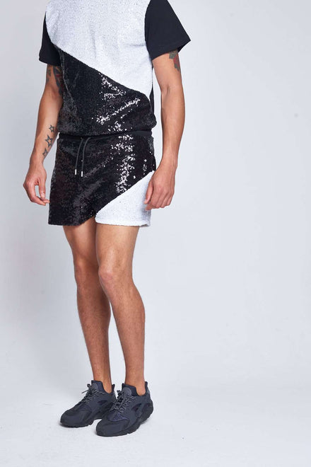 Monochrome Sequin Shorts