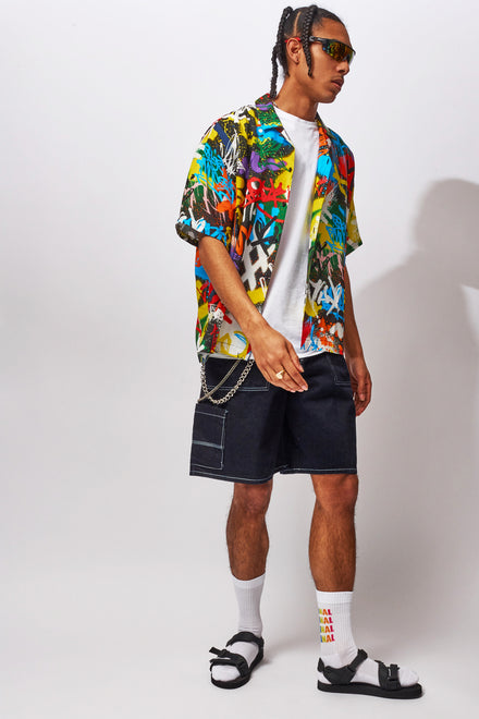Graffiti Print Oversized Short Sleeved Shirt