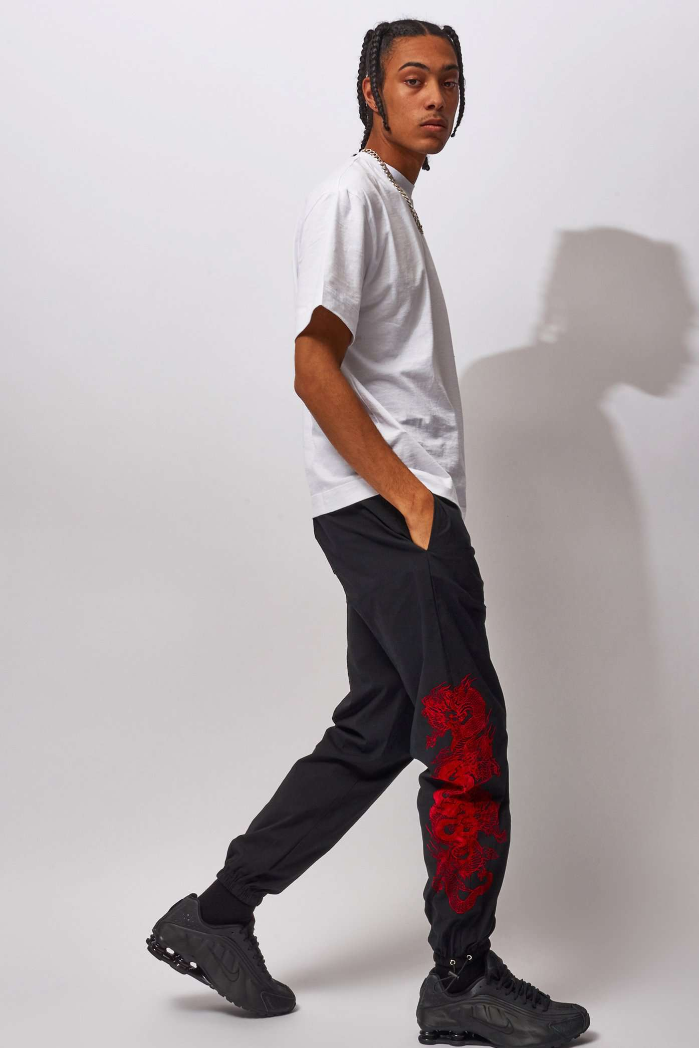 Flocked Dragon Track Pant