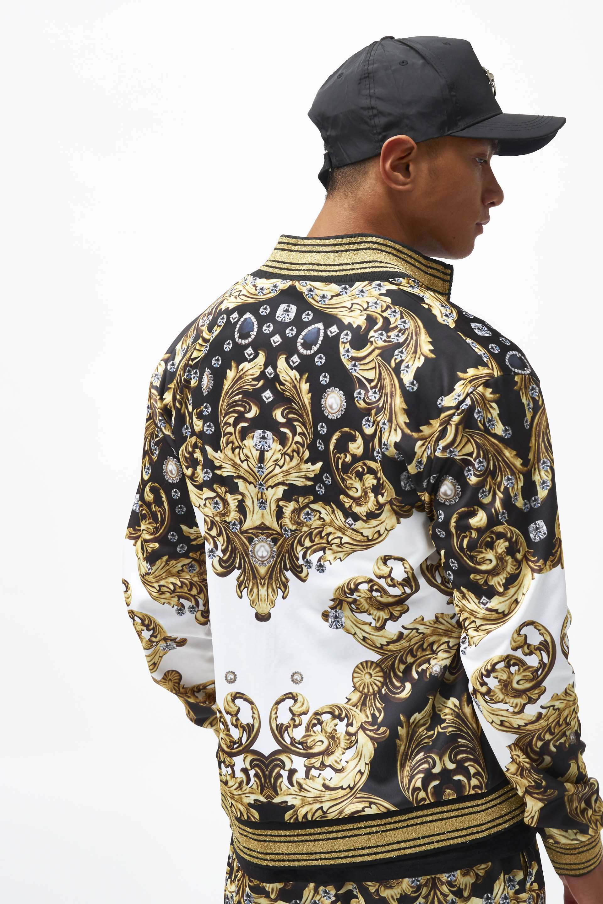 Jewel Baroque Tracktop With Metallic Rib