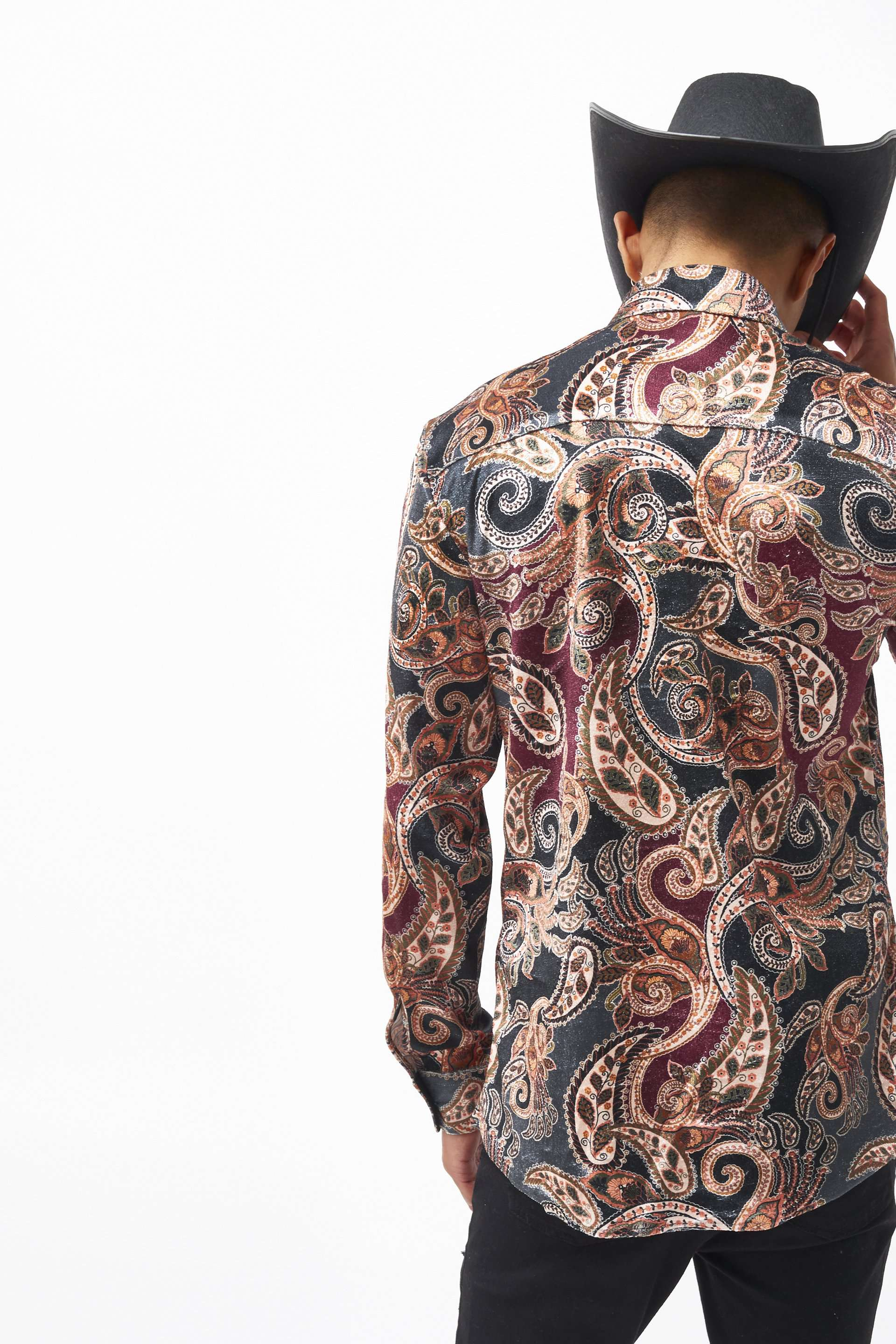 Paisley Long Sleeve Velvet Shirt