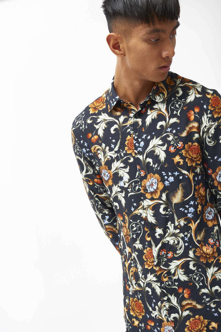 Floral Viscose Long Sleeve Shirt