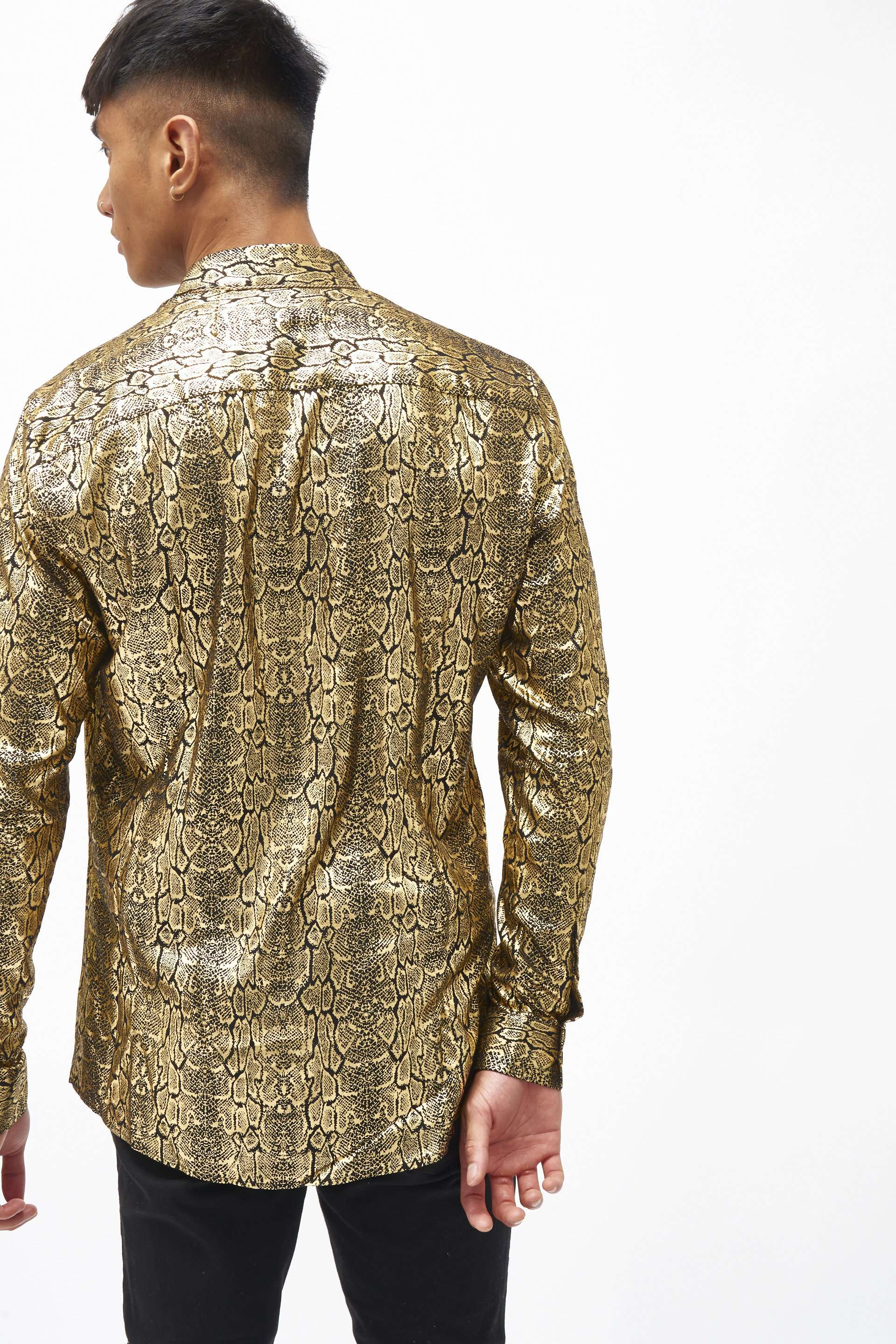 Black & Gold Crocodile Foil Shirt