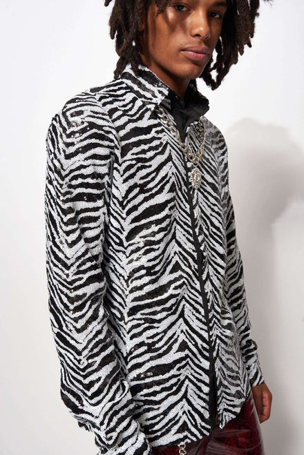 Zebra Sequin Long Sleeve Shirt