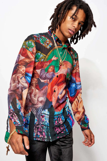 Glass Window Renaissance Shirt In Sheer Fabric