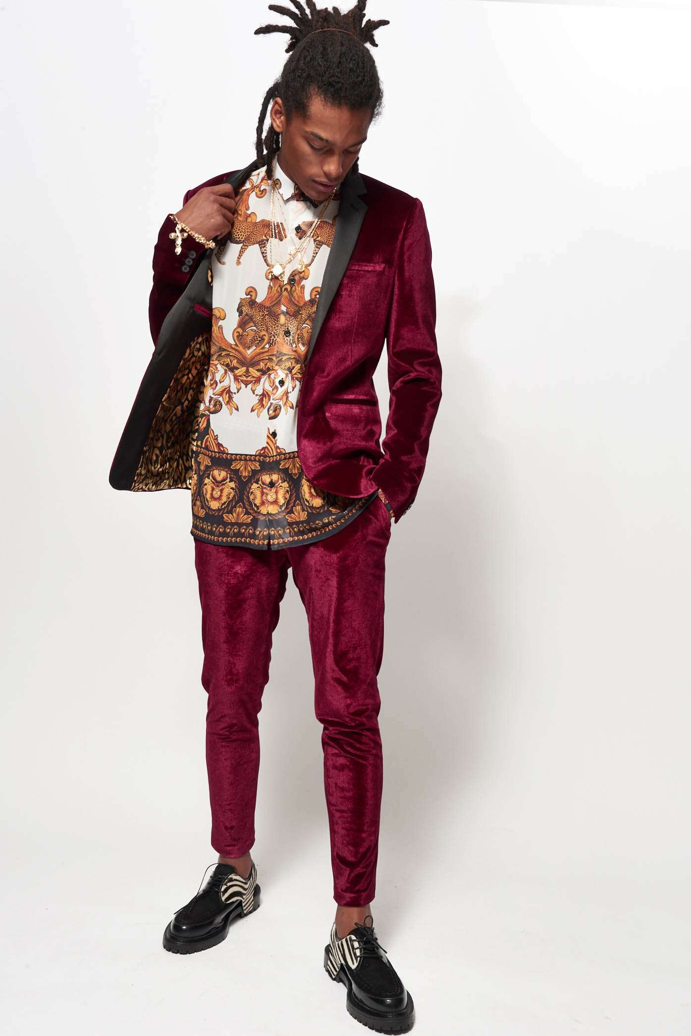 Red Velvet Suit Trousers