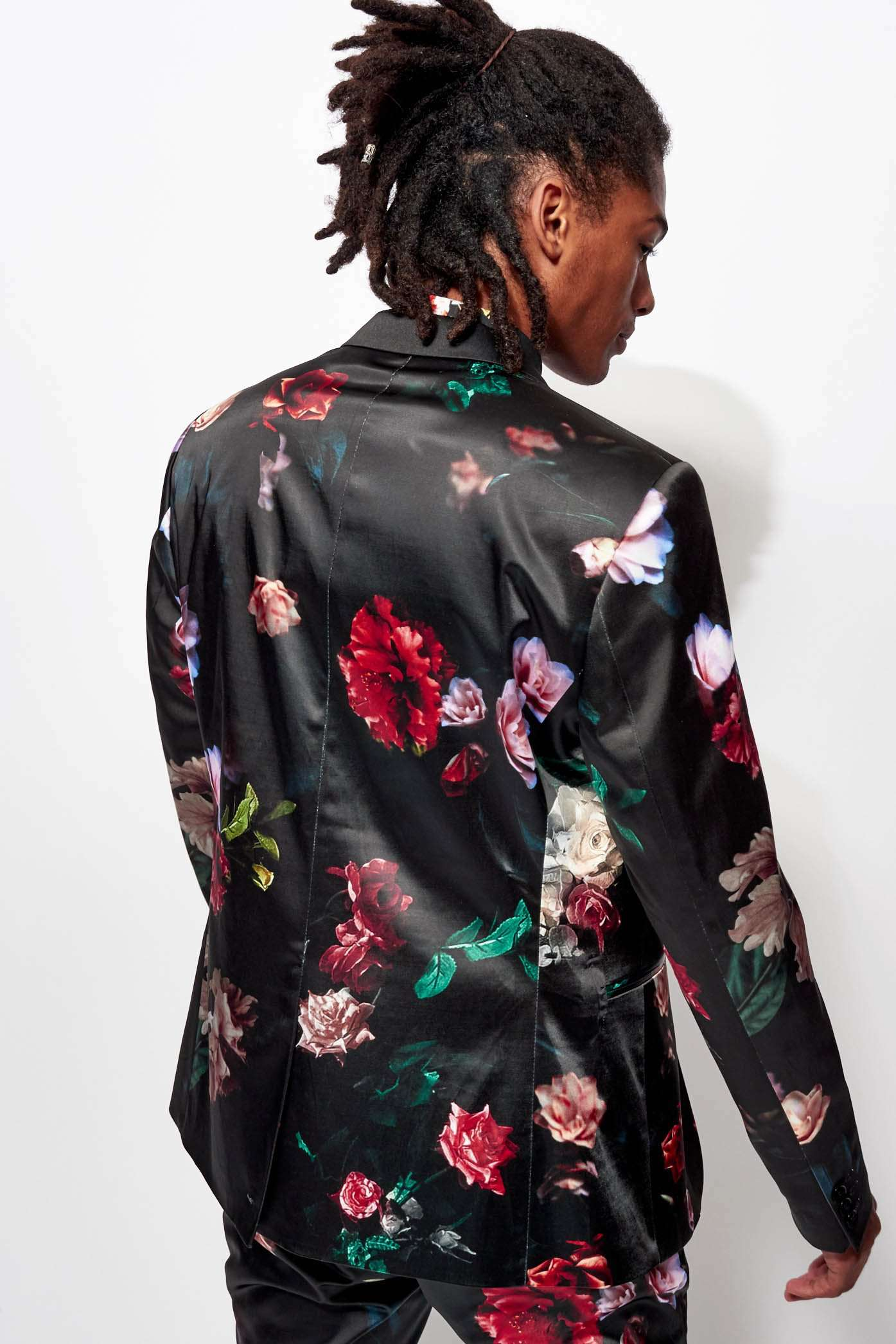 Satin Floral Suit Jacket