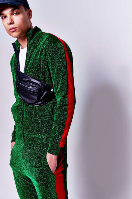 Green & Red Panel Tracktop in metallic fabric