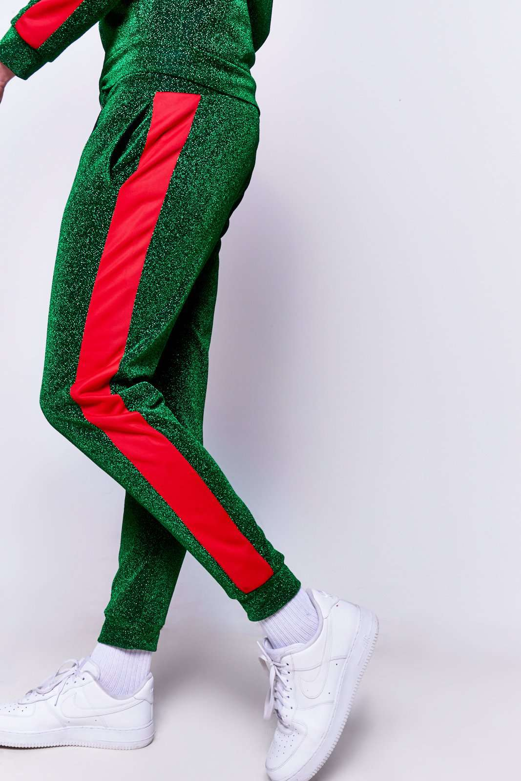 Green & Red Panel Joggers in metallic fabric