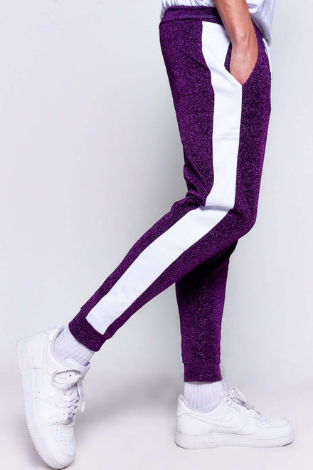 Purple Metallic Joggers With Panels