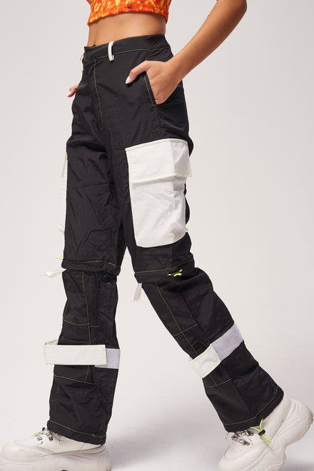 Black Oversized Cargo Trousers With Neon Stitching