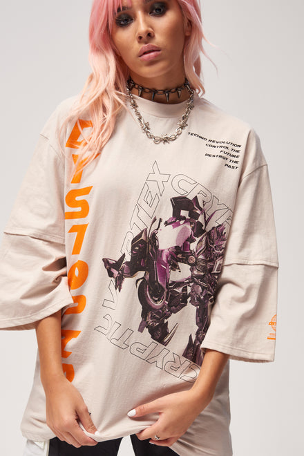 Dystopia Robot Print Double Layer T-Shirt