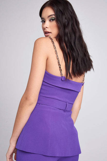 Purple Suit Top With Chain Strap Detail