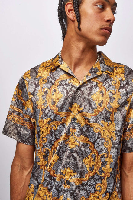 Snakeskin Baroque Satin Shirt