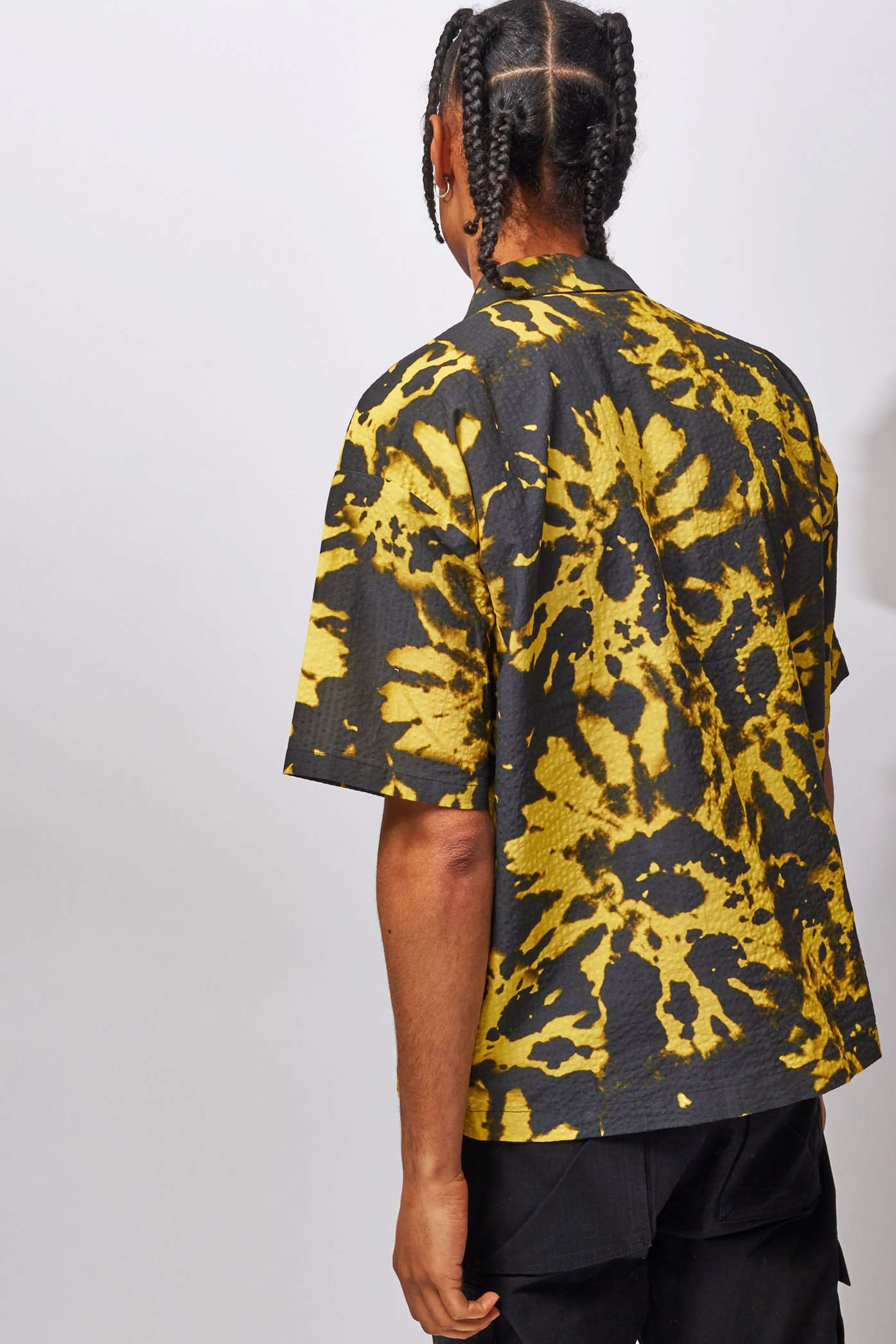 Black & Yellow Tie Dye Shirt With Utility Pockets
