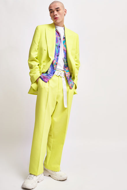 Neon Yellow Double Breasted Blazer