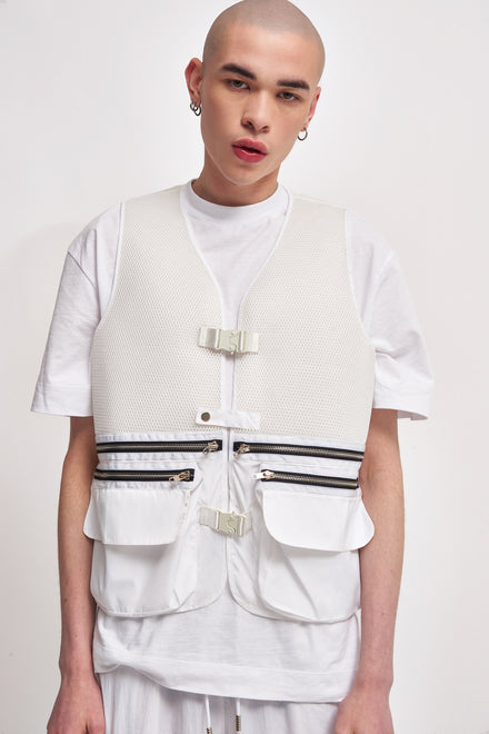 White Mesh Utility Vest With Cargo Pockets
