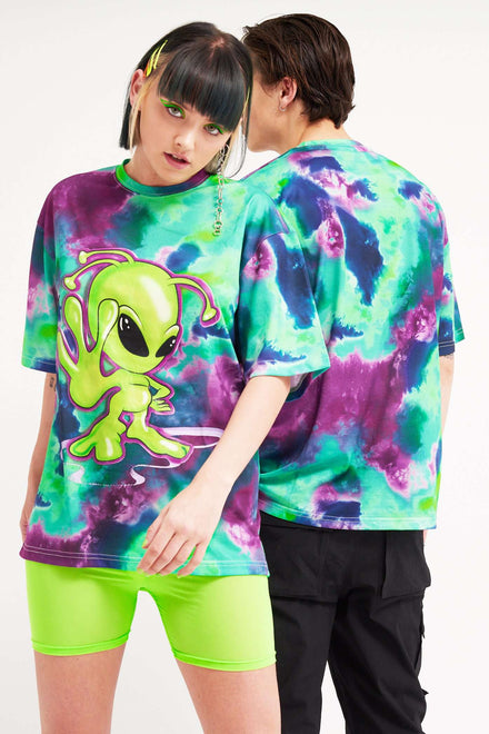 Parallel Tie-Dye Alien Print T-Shirt