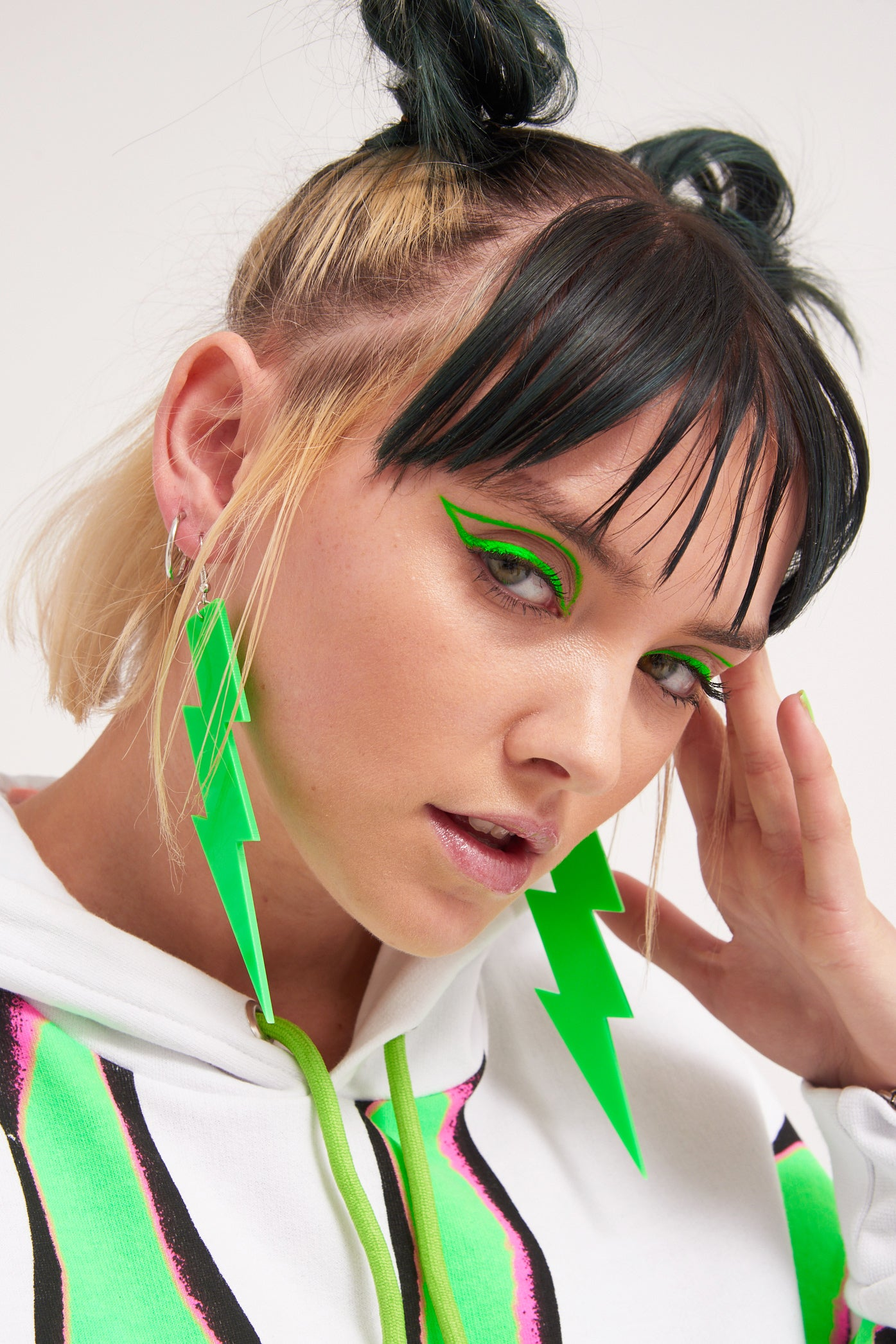 Neon Green Lightning Bolt Earrings