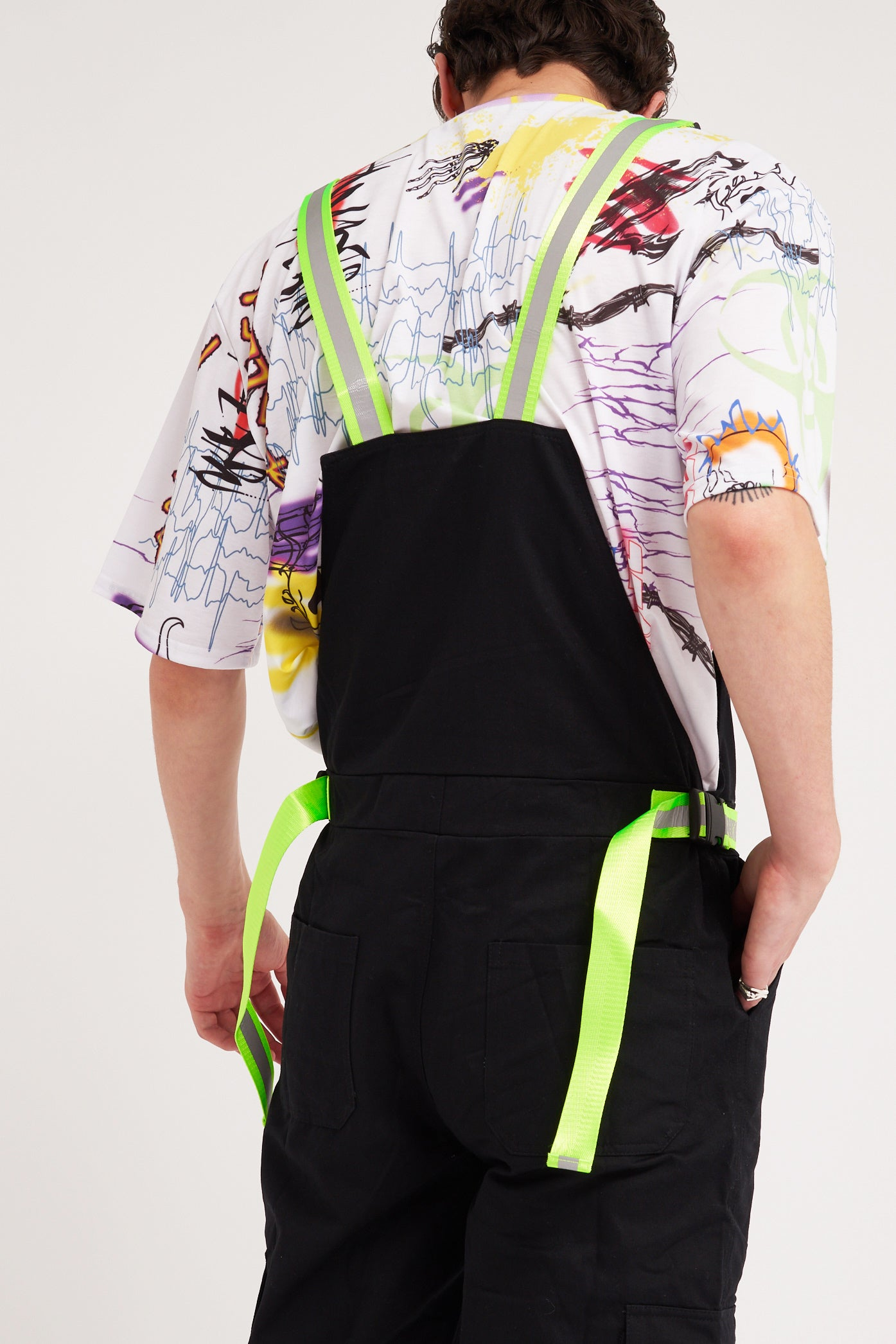 Black Dungarees with Reflective Buckle Straps