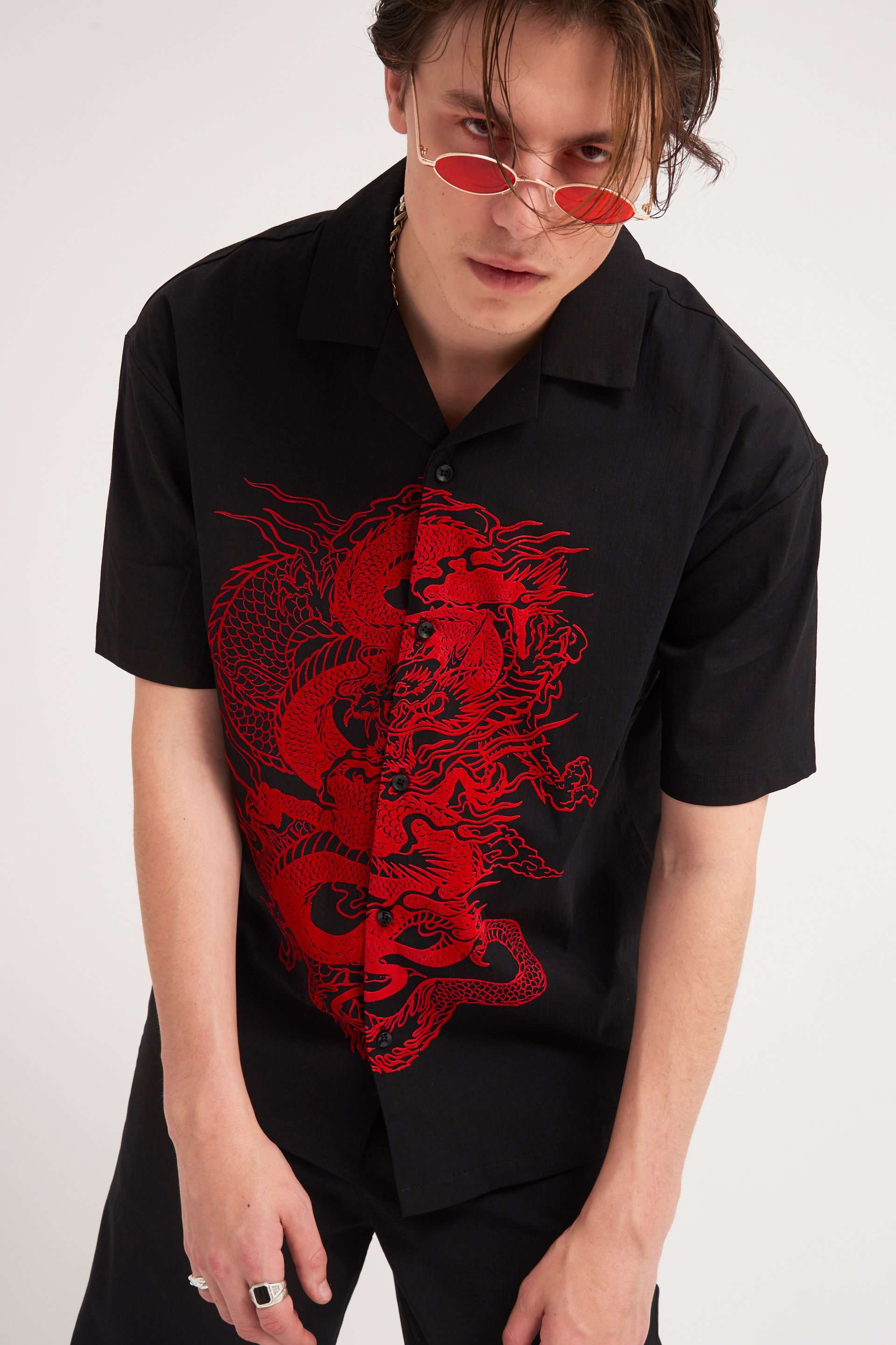 Red Flocked Dragon Short Sleeve Revere Shirt