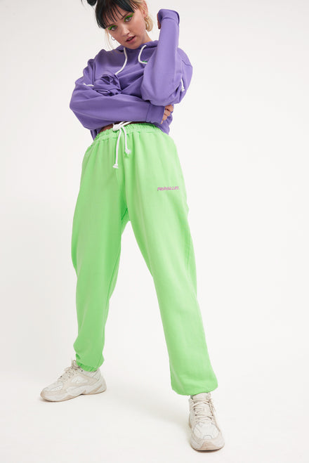 Parallel Green Embroidered Joggers