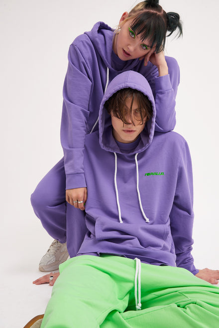 Parallel Purple Embroidered Hoodie