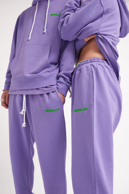 Parallel Purple Embroidered Joggers