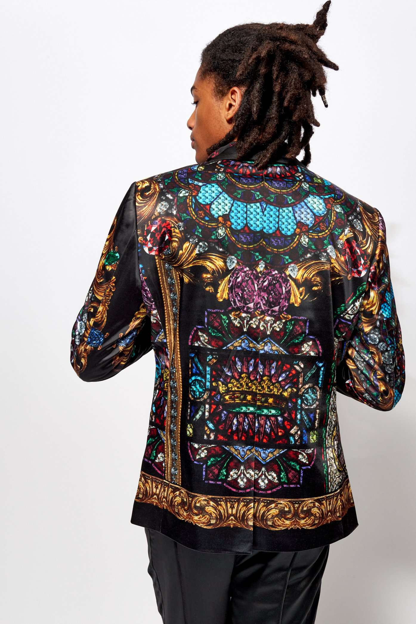 Stained Glass Printed Satin Blazer