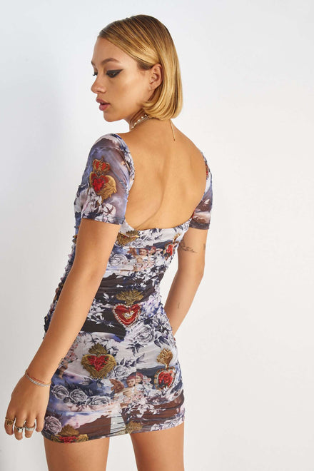 Cherub Print Ruched Mesh Mini Dress