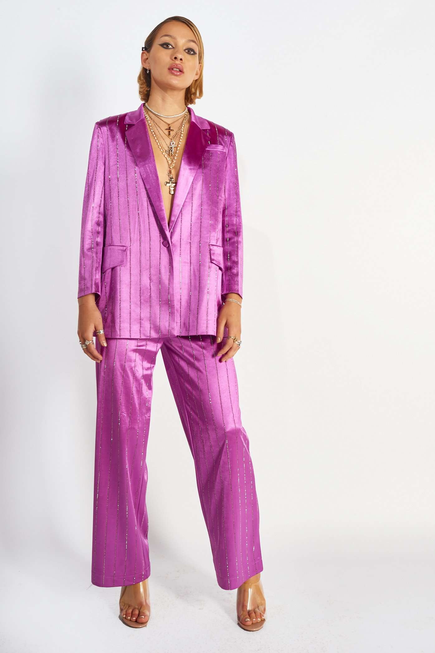 Purple Rhinestone Pinstripe Suit Jacket