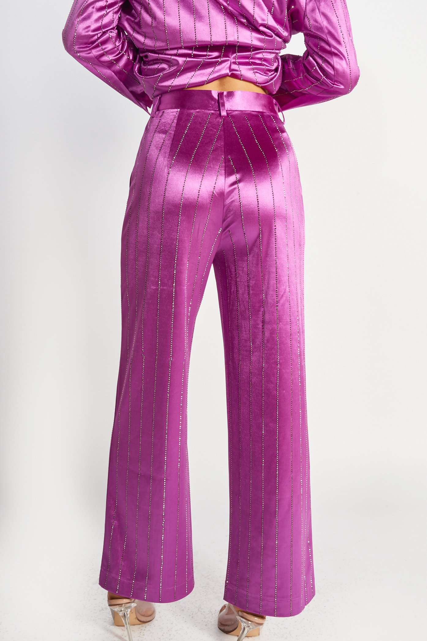 Purple Rhinestone Pinstripe Suit Trousers